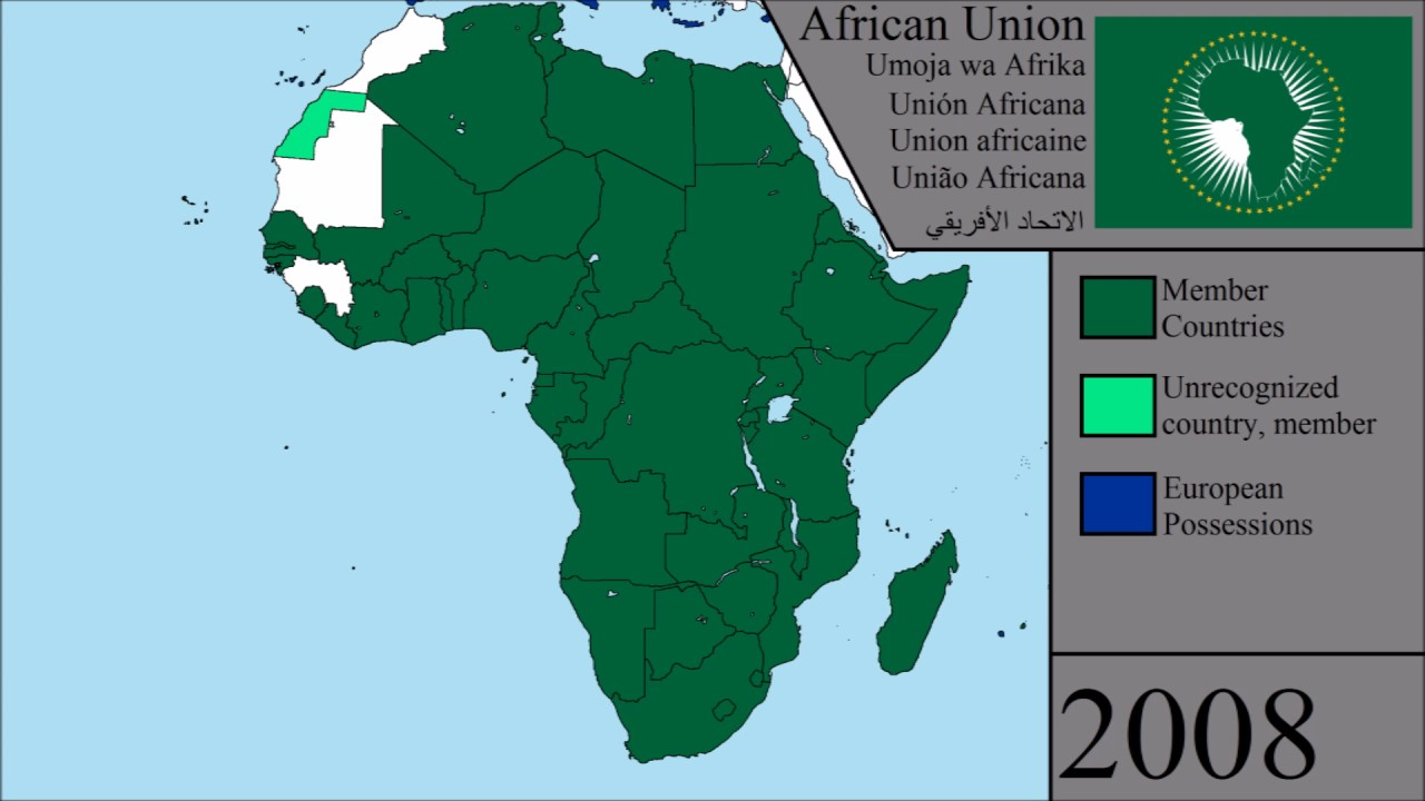 African Union Map.The History Of The African Union Every Year