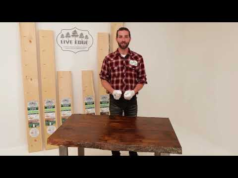 Live Edge Timber DIY wood project: How to apply oil wood stain