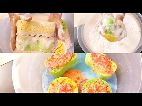 Asmr sponge Squeezing Personal mix and scents to relax slow suds // Rinse asmr tingles