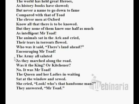 🔵 The Song of Mr Toad by Kenneth Grahame - Explanation and Analysis - British English Pronunciation