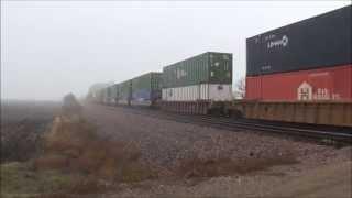 Union Pacific Intermodal train cuts through the fog and the rain on November 22nd 2014