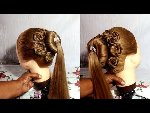 High ponytail hairstyles with Flower for school, medium long hair thumbnail