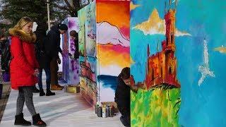 Граффити-флешмоб в честь Дня Республики Крым