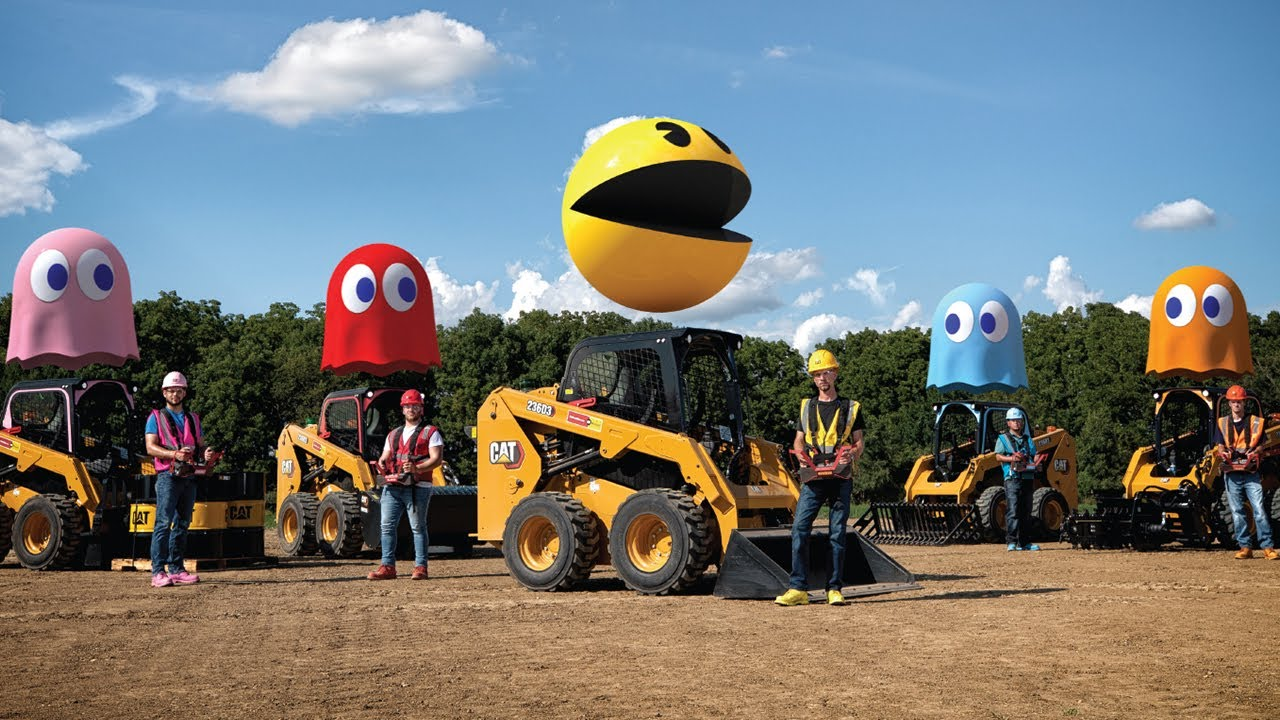 PAC-MAN AND CATERPILLAR INC. RECREATE CLASSIC ARCADE GAME USING HEAVY DUTY CONSTRUCTION EQUIPMENT