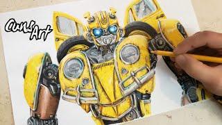 COMO DIBUJAR A BUMBLEBEE REALISTA | VW | how to draw realistic bumblebee | transformers