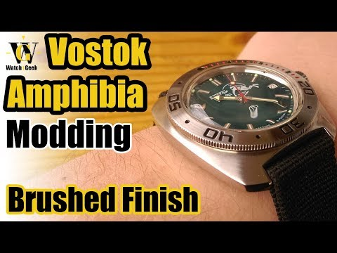 Vostok Amphibia brushed case and bezel mod - How To video