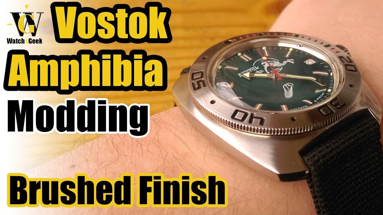 Vostok Amphibia brushed case and bezel mod - How To video - YouTube 20e2940f31