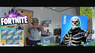 Fortnite but from our Perspective + Card UNBOXING EPIC SKULL TROOPER