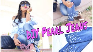 DIY Pearl Jeans| Easy way to Refashion Old Denim| Oh So Homemade