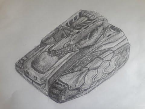 Как нарисовать танк поэтапно - Танки Онлайн - Рисунок карандашом Изида на Хорнете