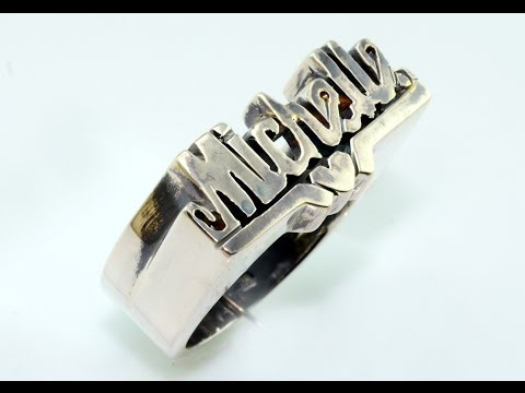 Handmade silver ring with name