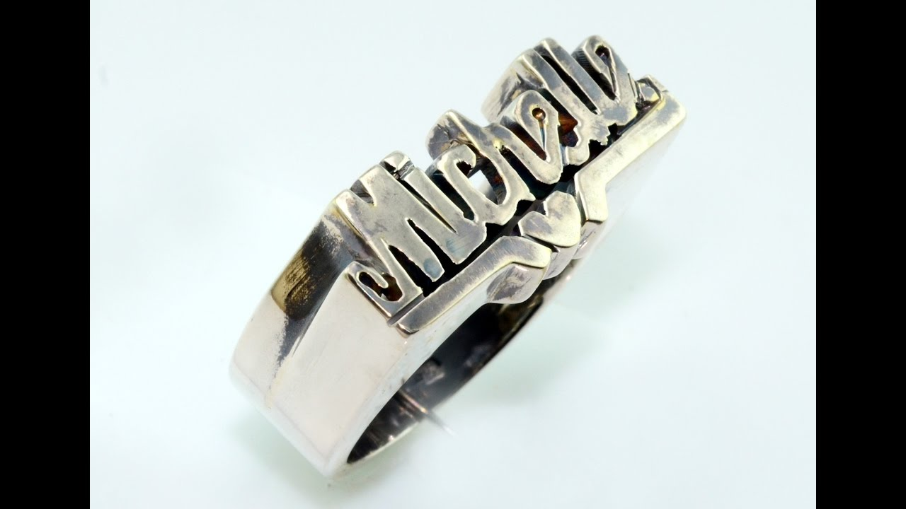 Handmade Silver Ring With Name Scaffoal