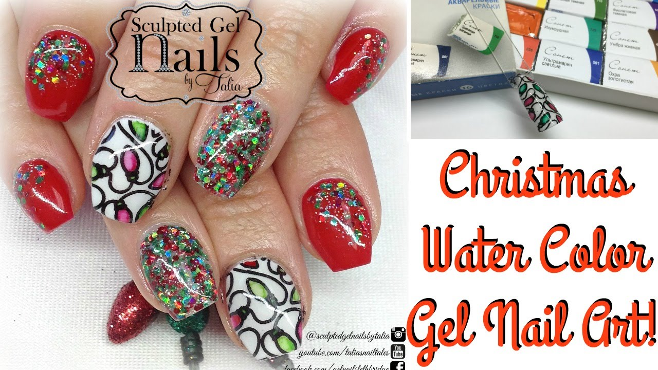 Christmas water colour nail art gel nail art tutorial youtube prinsesfo Images