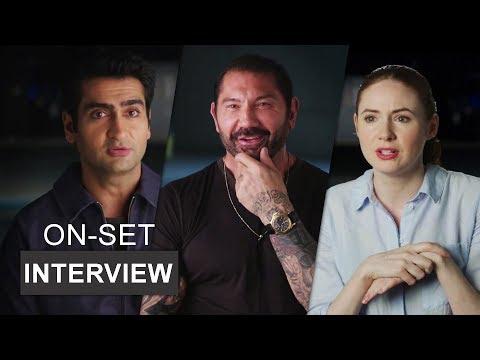 """Stuber (2019) On-Set Interview With """"Kumail Nanjiani, Dave Bautista, Karen Gillan   Extra's"""