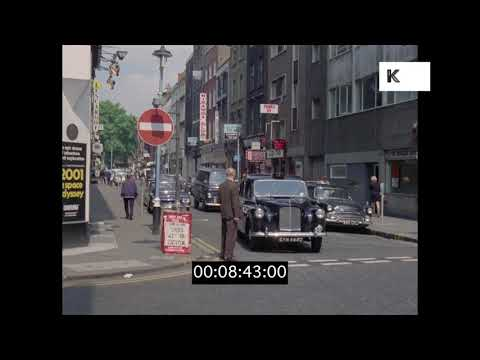 1960s Daytime Soho Streets, Old London in HD from 35mm