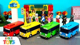 버스 정류장 만들기 | 중장비 블록놀이 | 장난감 자동…