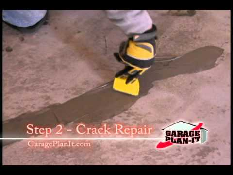 Roll-On Rock Epoxy Floor Coating - Step 2: Crack Repair