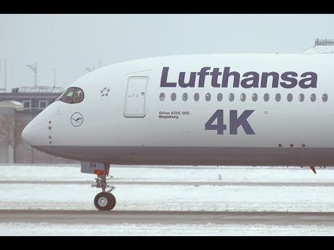 4K Planespotting at Munich Airport MUC, Takeoffs, Landings & Taxis in SNOW 2018