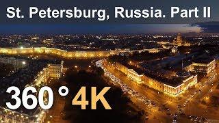 360°, Saint Petersburg, Hermitage museum at night, 4K aerial video thumbnail