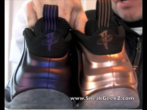 Nike Penny Foamposite Comparison Copper vs Eggplant SneakGeekZ