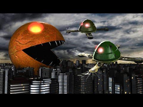 Pacman In A Dark City. Robot Ghost Vs Pacman.