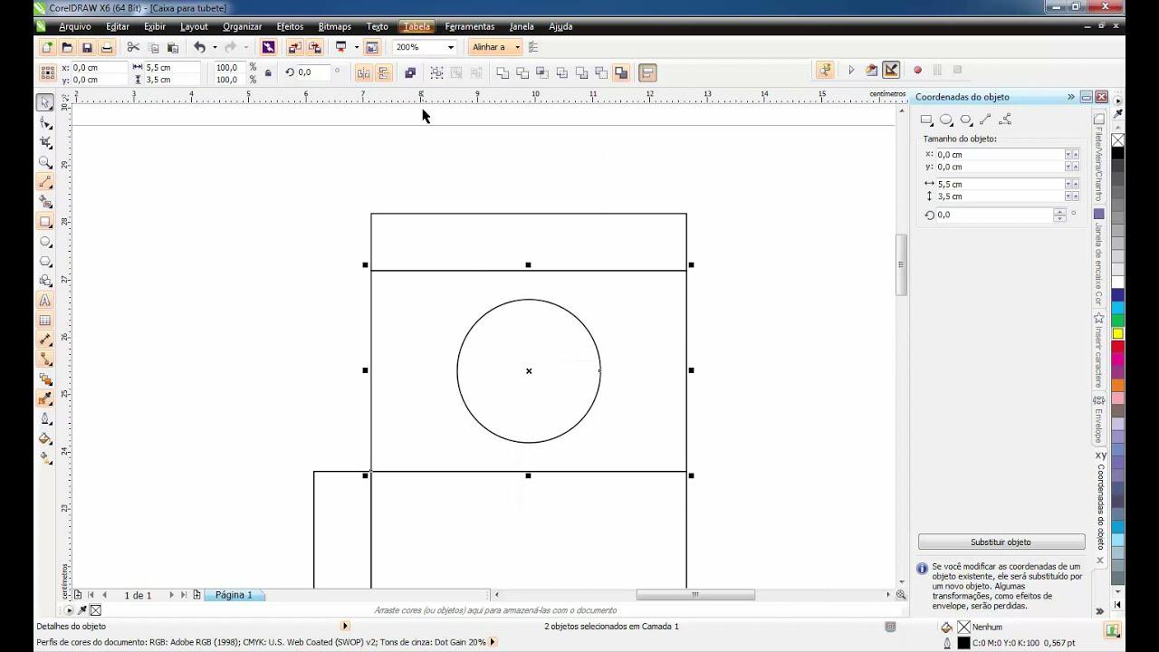 Fazendo uma caixa para tubete (18,5 x 26 cm) - CorelDRAW ...