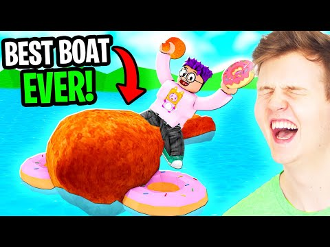 LANKYBOX Builds a MAX LEVEL DONUT CHICKEN BOAT In ROBLOX BUILD A BOAT FOR TREASURE! (JUSTIN BOAT!)