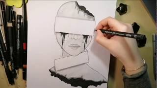 رسم وجه تعبيري بالرصاص
