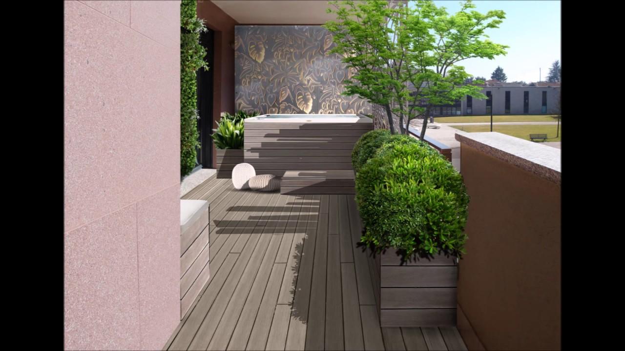 Il progetto di un piccolo terrazzo di 15 mq con idromassaggio - YouTube