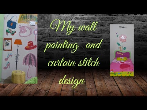 My wall painting and curtain design (my daughter room  tour)