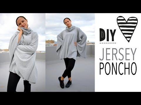 PONCHO mit Kragen nähen / kostenloses Schnittmuster DIY MODE