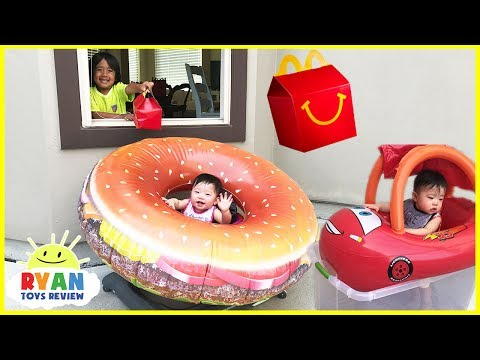 Thumbnail: McDonald's Drive Thru Prank Twin Babies! Giant Hamburger Ride on Car Disney Cars Lightning McQueen