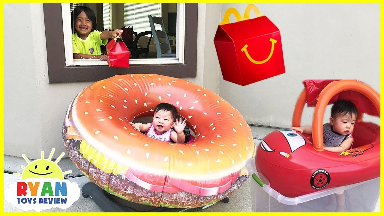McDonalds Drive Thru With Giant Hamburger And Disney Cars