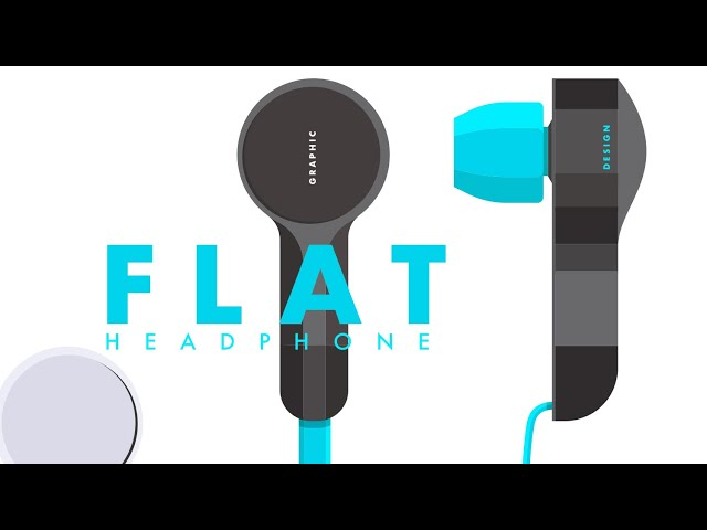 Flat Design Headphones | Adobe Illustrator | Graphic design