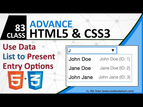 How to Use Datalist in HTML - Advanced HTML5 CSS Tutorial in Urdu / Hindi 2019 thumbnail