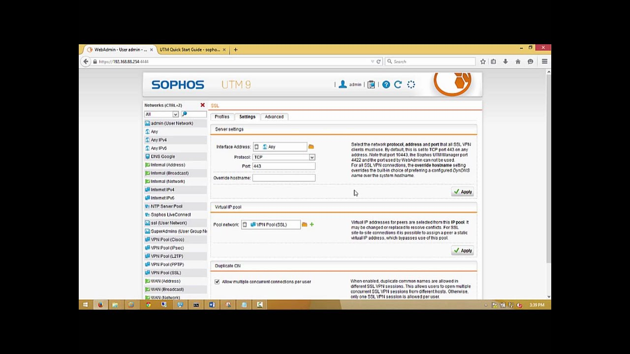 Sophos UTM SSL VPN client to site - step by step Configuration