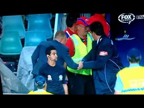 Frank Farina escorted off field by security after match 8/2/14