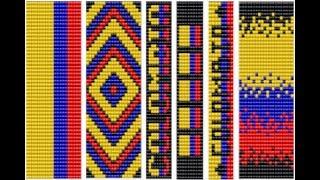 Diseños bandera de colombia (plantillas para manillas ) manillas en mostacilla