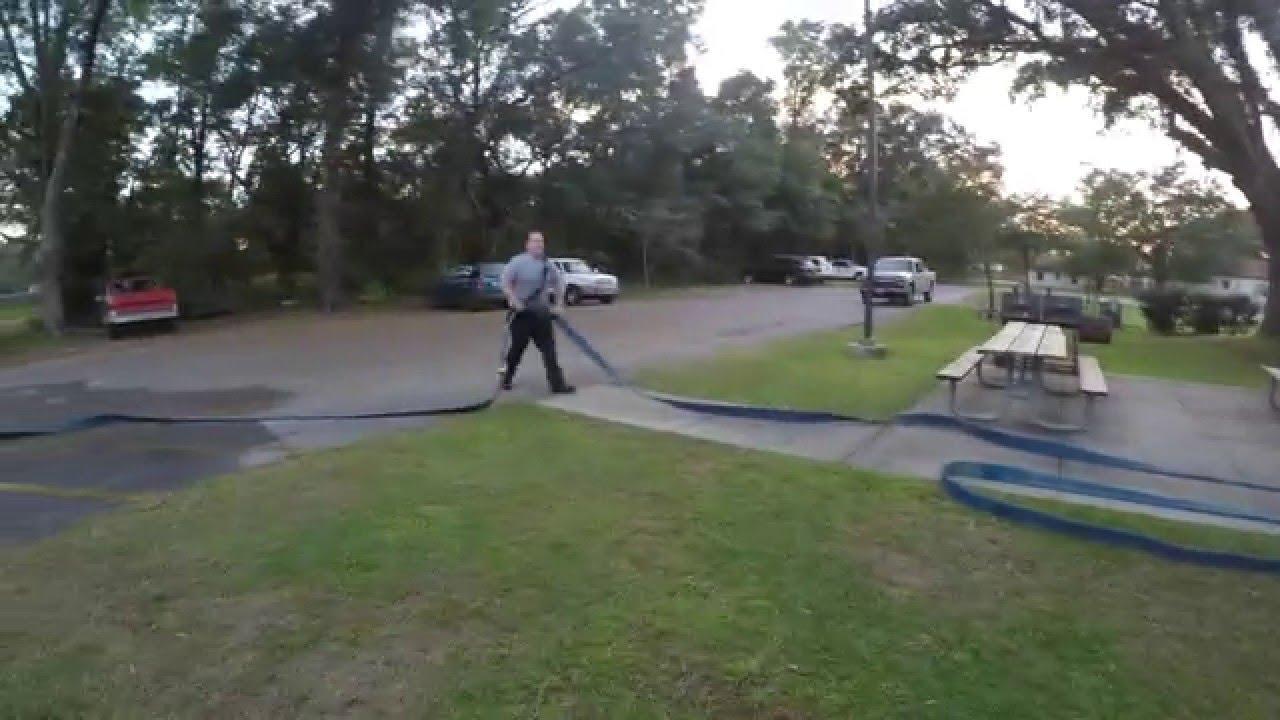 Stretching hose lines