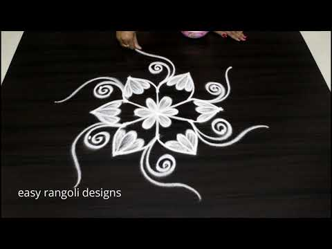 Latest Designs With 5 Dots || Simple Flower Kolam  ||  Cute  Muggulu For Beginners