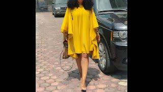 Женские платья летние длинные рукав летучая мышь модные с круглым вырезом однотонные желтые