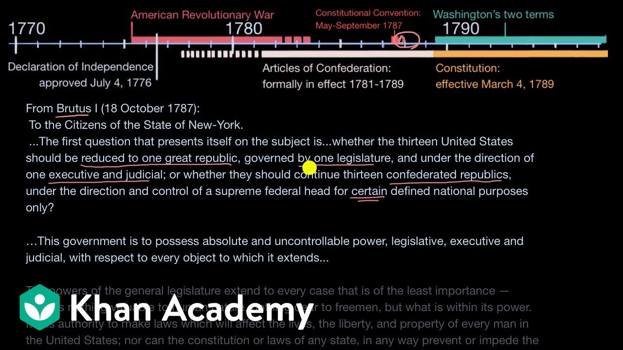 small resolution of Anti-Federalists and Brutus No. 1 (video)   Khan Academy