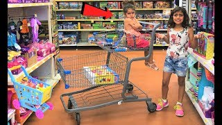 Kids Pretend play Shopping for healthy food and Toys! funny video!
