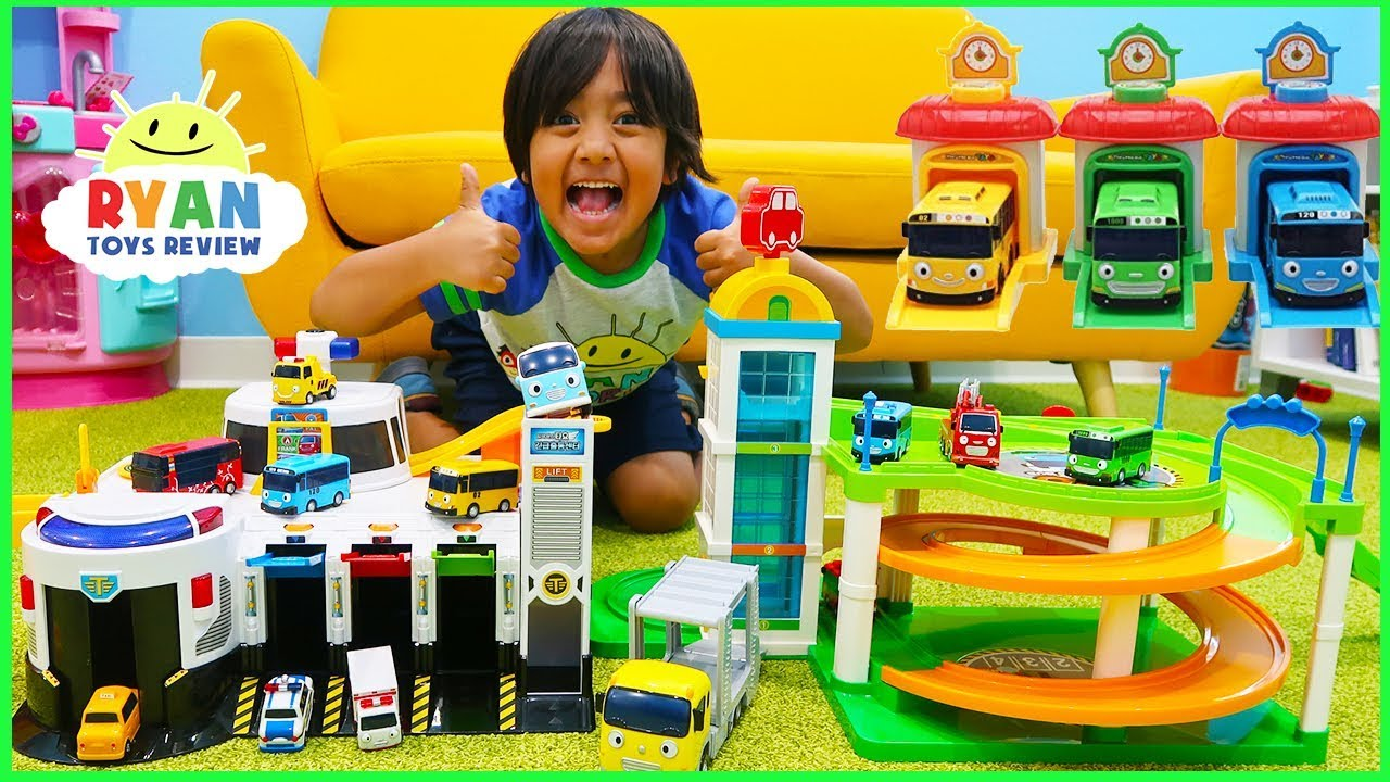 Tayo The Little Bus Parking Garage Toys Cars for Kids!!!!