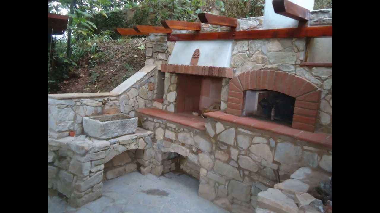 Forno a legna in pietra Barbecue e fontana Costruzione  YouTube