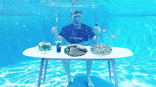 I Only Ate Food UNDERWATER For 24 Hours!! *IMPOSSIBLE FOOD CHALLENGE*