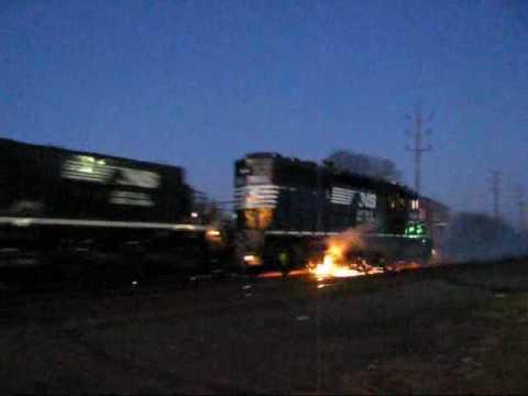 Norfolk Southern Locomotive ON FIRE !!!