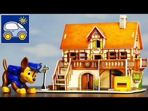 Дом для Гонщика. Игрушки Щенячий Патруль и 3D пазлы для детей. Мультики из игрушек. Картонка