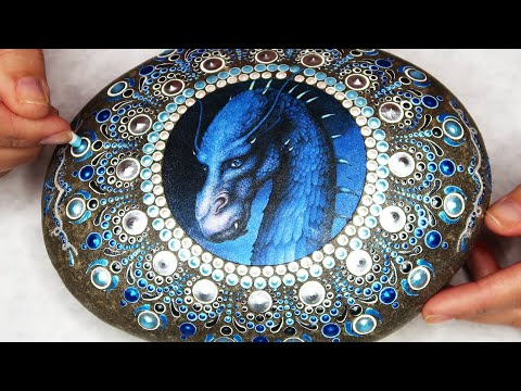 "How To Mandala Pattern ""Saphira Dragon Eragon Cover"" Blue Rock Mandala Dot Painting Time Lapse Music"