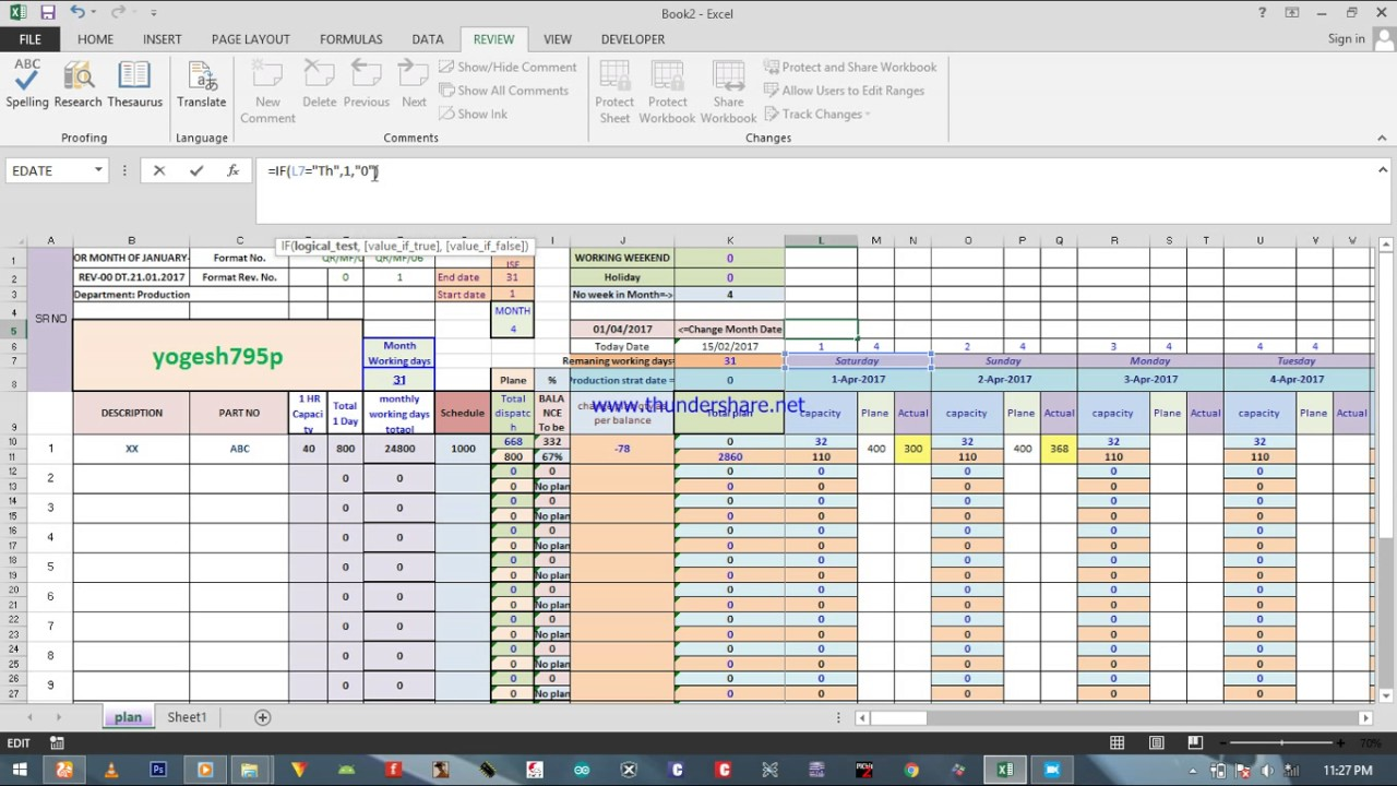How Create Capacitive Production Planning Excel Sheet Redimade Format Available